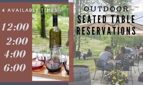 Outdoor Seated Table Reservations: Friday May 29th--12:00/2:00/4:00/6:00