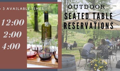 Outdoor Table Reservations: 3 Available Times--12:00/2:00/4:00
