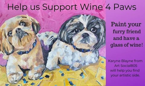 Pet Portrait Painting & Wine